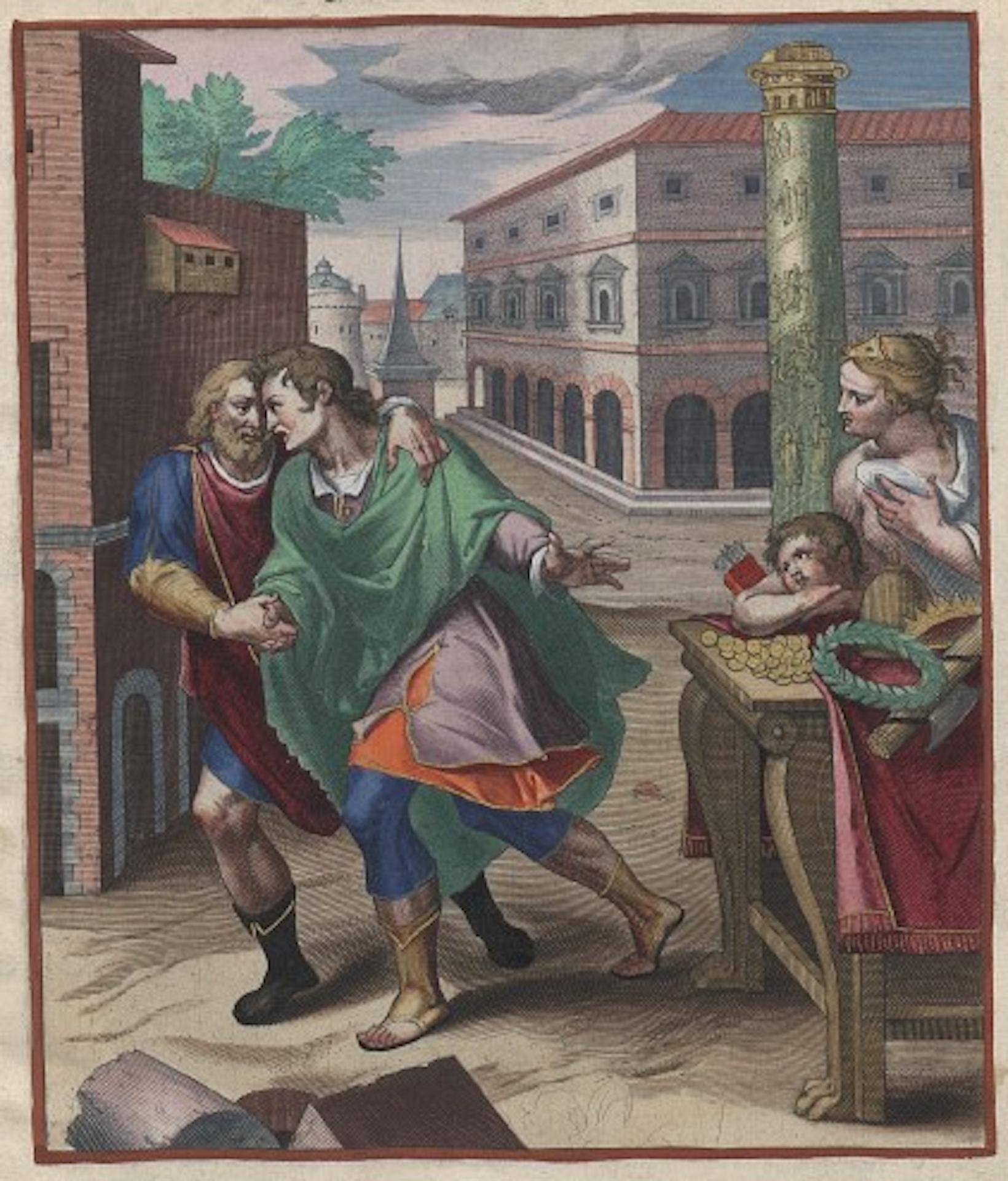 Grabado coloreado de Otto Vaenius (Emblemata Horatiana)